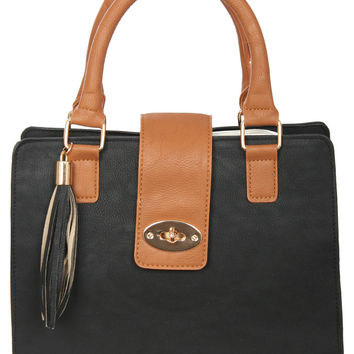Adeline Colour Block Stuctured Bag in Black