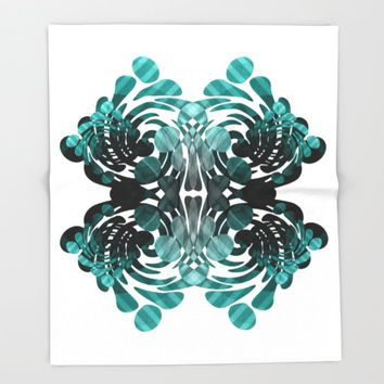Abstract black and teal Throw Blanket by VanessaGF | Society6
