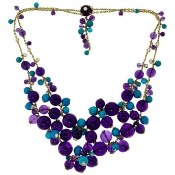 Cartier Delices de Goa Amethyst Turquoise Diamond Yellow Gold Bead Necklace