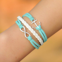 Infinity Bracelet--karma  BRACELET---anchor Bracelet---Wax Cords and Imitation Leather Bracelet-----B117