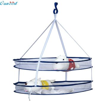 Ouneed Happy home Housekeeping Storage Holders 2 layers Folding Drying Rack Hanging Clothes Laundry Sweater Basket Dryer Net