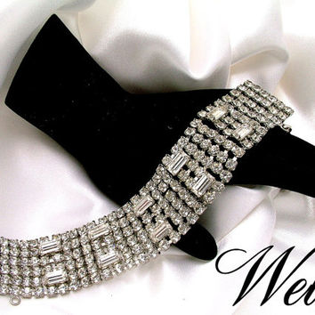 Vintage Wide 6 Row Sparkling Clear Rhinestone Bracelet Signed Weiss - TLC