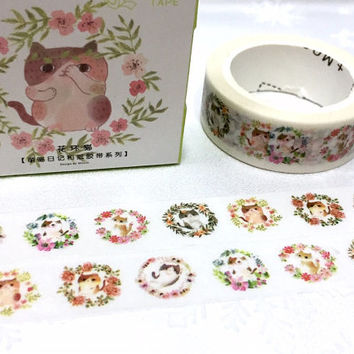 cat flower wreath washi tape 7M cat circle cat flower garden kawaii cartoon cat pussycat masking tape cat planner sticker cat meow diary