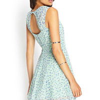 Floral Chiffon Cutout Dress