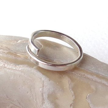 Toe,Knuckle,Midi Open Band Ring Plain or Hammered 925 Sterling Silver Minimal Flat 2mm