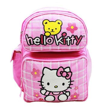 "Sanrio Hello Kitty Fullbody With Bear 16"" Canvas Pink Grils School Backpack"
