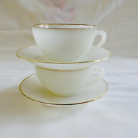 Two French Vintage Tea Cups Demi Tasse Coffee Cups milk Glass ArcOpal