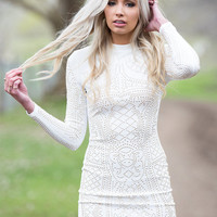 Working For It White Gold Studded Dress