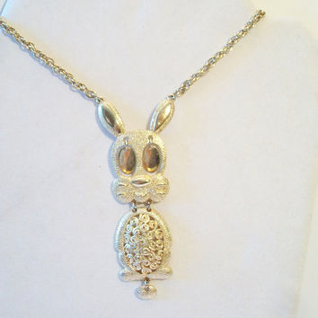 Vintage Emmons Articulated Bunny Rabbit Necklace Pendant Retro Costume Jewelry Easter