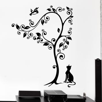 Wall Vinyl Decal Cat Tree Birds Nature Animals Cute Home Interior Decor Unique Gift z4129