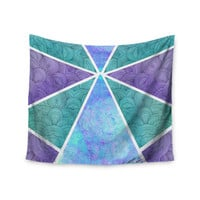 "Pom Graphic Design ""Reflective Pyramids"" Teal Purple Wall Tapestry"