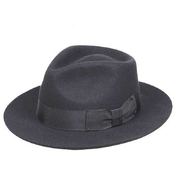 Classic Men's Black Wool Fedora Gentleman Hat