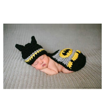 Fashion Batman Design Photography Props Sweater for Newborn Baby Costume Hand Knitted Baby Clothing (Size: 0-3m, Color: Black) = 1928051716