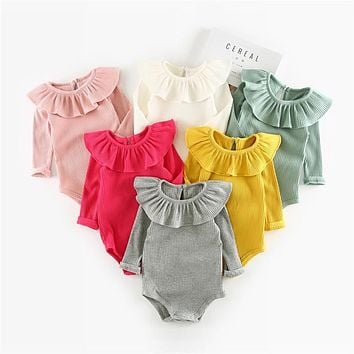 Gray, White, Yellow, Pink Ruffle Neck Collection New Born Infant Baby Onesuit Bodysuit