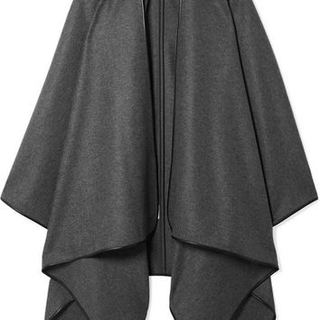 The Row - Shane leather-trimmed wool cape