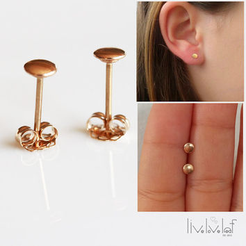 14K Yellow Gold dot stud earrings  4mm Solid gold circle studs minimalist Tiny geometric gold studs everyday jewelry fashion style gift idea