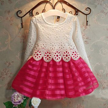 3 4 5 6 7 8 Years Toddler Girl Dress Tutu Crochet Kids Lace Dress Long Sleeve Children Princess Dress Spring Autumn Girl Clothes