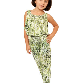Mini Voiz Girl's Green Leopard Print Body Suit
