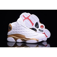 Nike Air Jordan 13 Retro Defining Moments Gold White They can't Win Until 3D cat's eye Basketball With Box