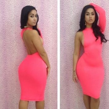 One Sleeve Cut out Bodycon Dress Pink