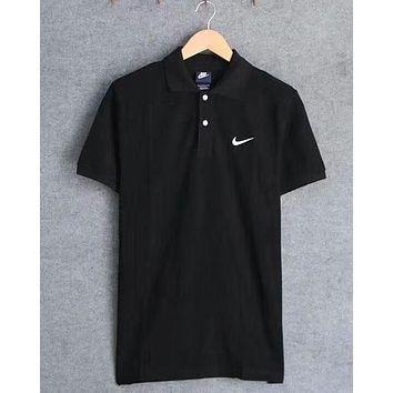 Nike Summer Popular Unisex Fashion Women Men Casual Embroidery Logo Lapel Short Sleeve Top Blouse Black I-A-BM-YSHY
