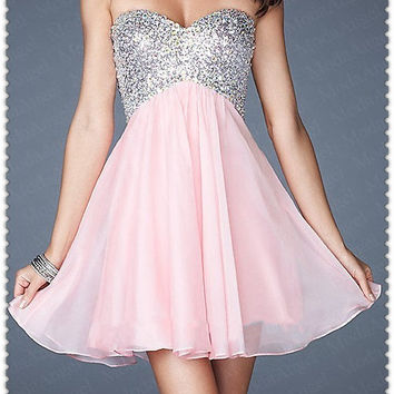 Criss-cross Back Short Homecoming Dress Chiffon Sweetheart Mini Prom Dress under 100
