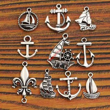 ESBONHS Mixed Tibetan Silver Tone Anchor Rudder Charm Pendants for Bracelet Necklace Jewelry Accessories Diy Jewelry Making