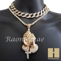 """Hip Hop Iced Out Praying Hands Pendant 16"""" Iced Out Choker 18"""" Tennis Chain 12"""