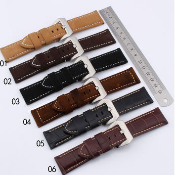 Retro leather cowhide watch accessories 24MM deep brown matte leather buckle strap for men's mechanical watch belt+TOOLS