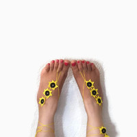 Barefoot Sandals, Crochet barefoot sandals ,yellow and black, Flower sandals, Crochet ankle bracelet , Bohemian foot jewelry,