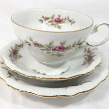 Vintage Johann Haviland  Bavaria Germany Teacup, Saucer and Bowl/Pink Floral Footed Teacup and Saucer/Gold Trimming Rose Vine Teacup