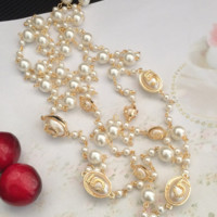 Chanel digital pearl sweater necklace multi-layer long style sweater necklace accessories