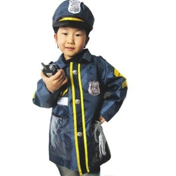 Halloween Police Officer Patrol Cop Fashion Cosplay Costumes For Children Fancy Party Outfit Clothing Birthday Gift Z4
