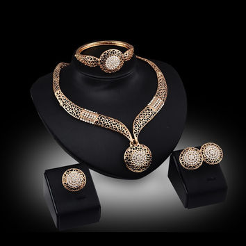 2016 Fashion Trendy African Wedding Jewelry Sets Gold Plated Women Costume Accessories Turkish Necklace Earrings Jewelry