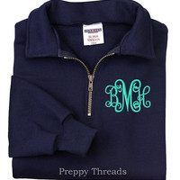 Monogrammed Sweatshirt Quarter Zip
