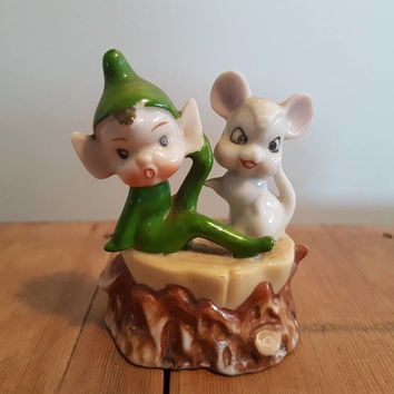 Vintage Pixie / Elf and Mouse on a log Figurine kitsch Green pixies Elves
