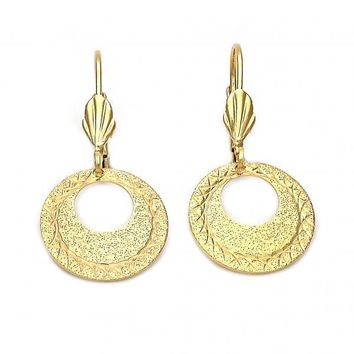 Gold Layered Dangle Earring, Golden Tone