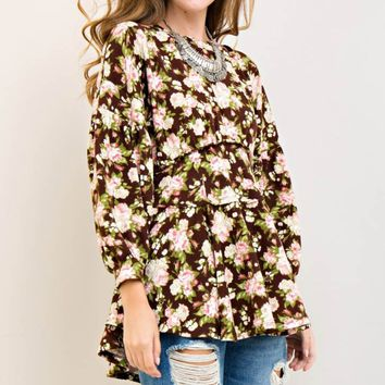 Floral Puff Long Sleeve Blouse Top