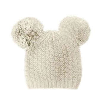 Mickey Mouse Double Pom Pom Beanie Hat