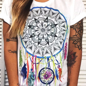 Rainbow Dream Catcher Crew Neck, Cute Top, Shirt, Women's Shirt, Yoga Clothes, Yoga, Yogi