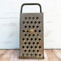 Vintage Cheese Grater Moms Gift Salvaged Grater Unique Clock Table Mantle Clock French Country Farmhouse Decor Rustic Home Decor Mothers Day