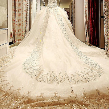 luxury cathedral crystal train wedding royal dress