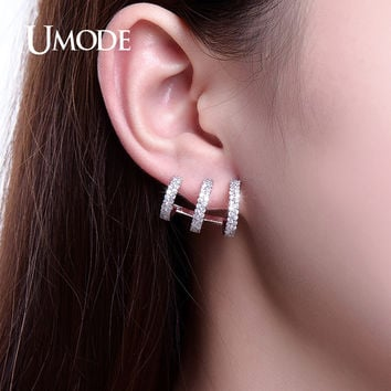 UMODE Unique Three Open Circles Design Ear Cuff Stud Earrings White Gold Color For Women Latest Jewellery Bijoux Aretes UE0225