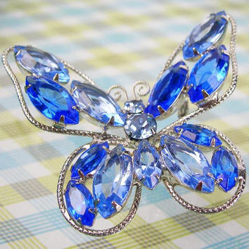 "Blue Rhinestone Butterfly Brooch in Silvertone Setting, 2"" W by 1.75"" H, Vintage 1960s Era Jewelry, Figural Insect Pin, Gift Mother's Day"