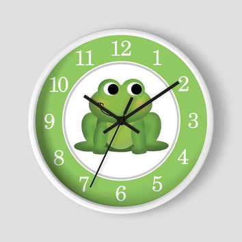 Frog Nursery Wall Clock - Green Frog with Apple Green border with White Wood Frame - 10-inch Round Clock - Made to Order