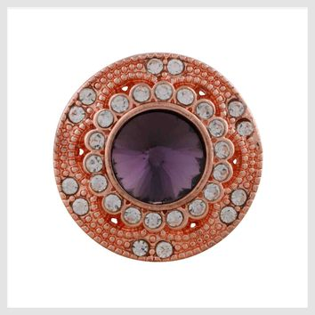 """Rose Gold Purple Clear Crystals 21mm 3/4"""""""