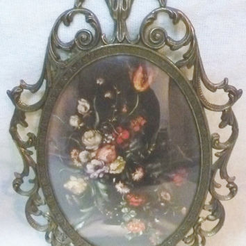 Pair of Italian Convex Glass Oval Floral Wall Art Picture With Ornate Metal Frames ITALY