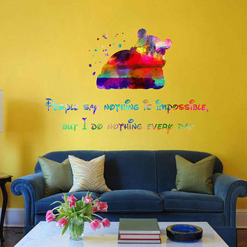 kcik2058 Full Color Wall decal Watercolor Character Disney Winnie the Pooh quote Sticker Disney children's room