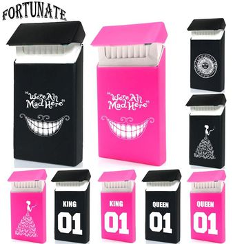 Hot Exclusive Fashion Sign Type Lady Slims Silicone Cigarette Case Fashion Queen&King Rubber Women Cigarette Box Sleeve