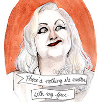 Hatchetface watercolor portrait illustration print Cry Baby Kim McGuire